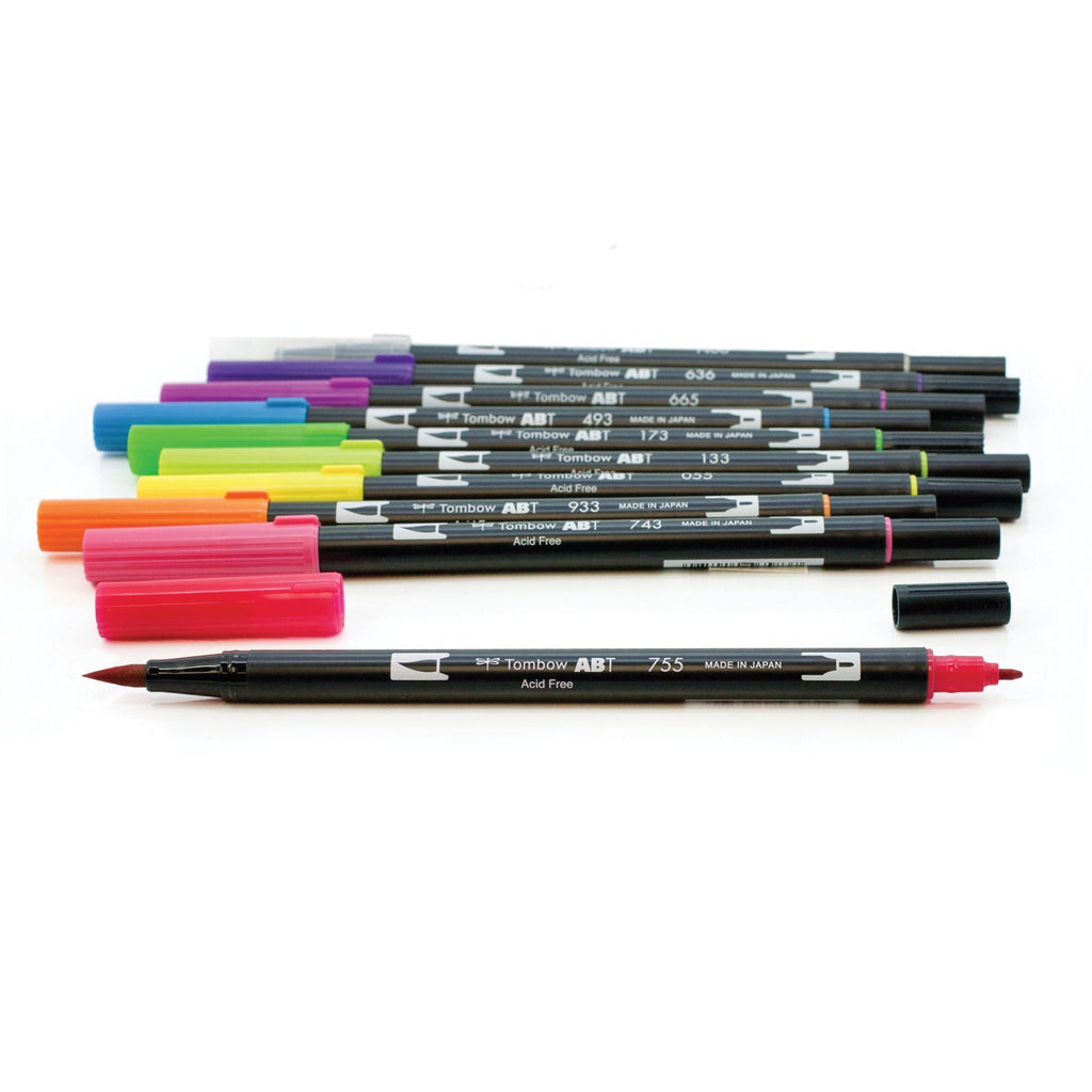 Tombow - Dual Brush Pen Art Markers - Bright - 10 Pack
