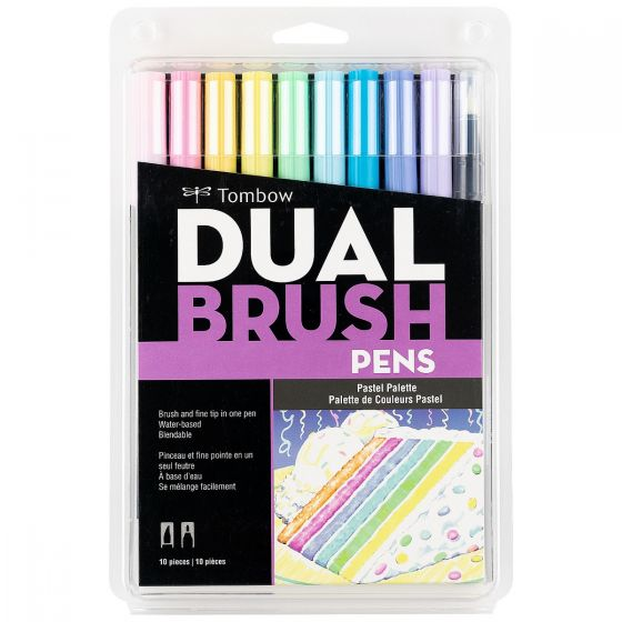 Tombow - Dual Brush Pen Art Markers, Pastel, 10-Pack