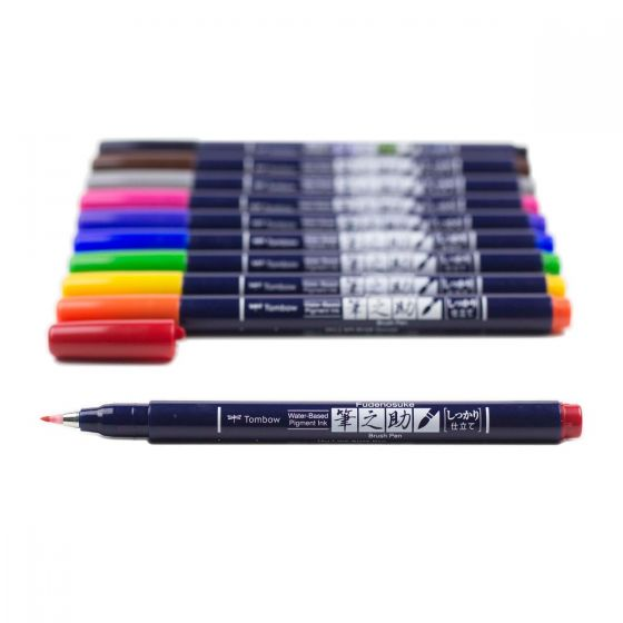 Tombow -Fudenosuke Colors Brush Pen Set 10-Pack