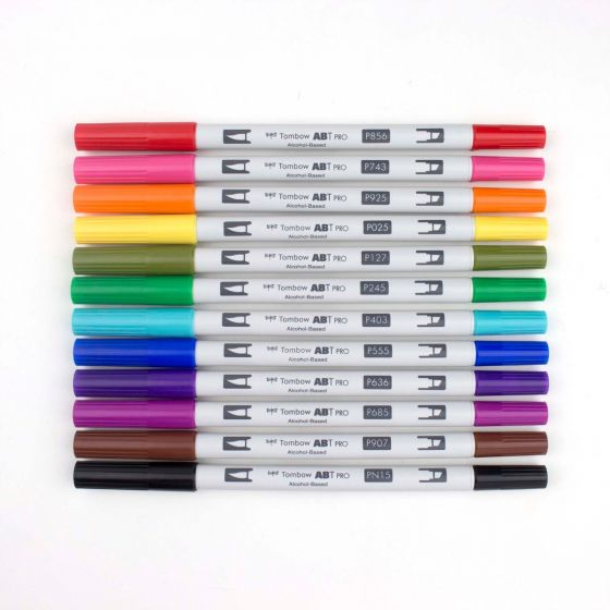 Tombow - ABT PRO Alcohol-Based Art Markers, Basic Palette, 12-Pack