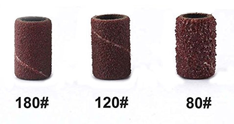 "Sanding Drum -1/4""x1/2"" Replacement Sleeves- 3 each (80, 120, 180 grit)"