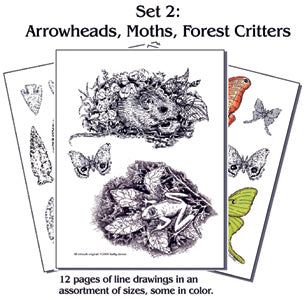 Pyro Paper Packet #2 ARROWHEADS, MOTHS, & FOREST CRITTERS