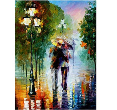 Lovers in the Rain - Number Painting