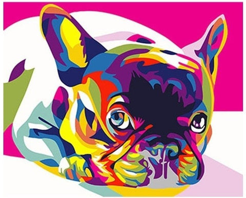 Rainbow Bulldog - Number Painting