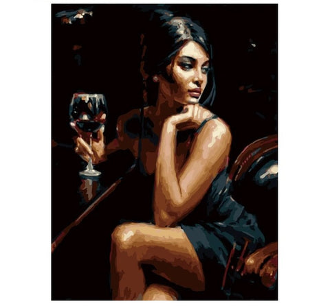 Sexy with a Glass of Wine - Number Painting