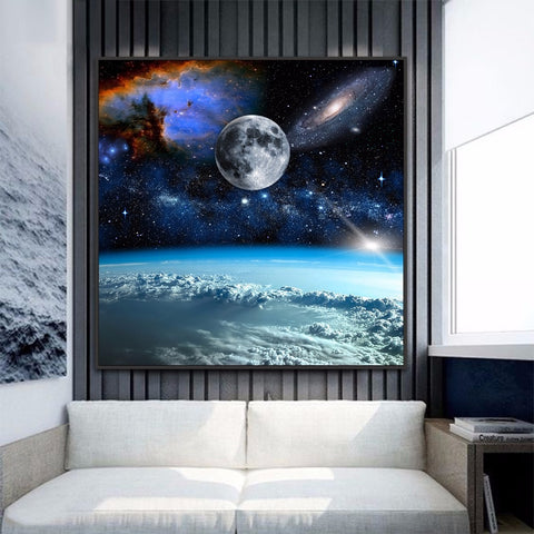 Space Moon Canvas Art