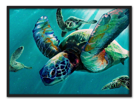 Aquarel Zeeschildpad Canvas Art | Posters en Wanddecoratie