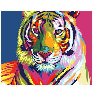 Rainbow Tiger | Number Painting - Science Factory