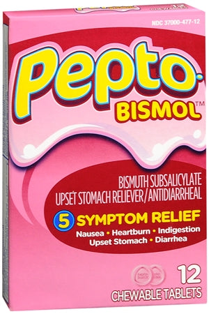 Pepto-Bismol Tablets Original 12 Each (1 Pack)