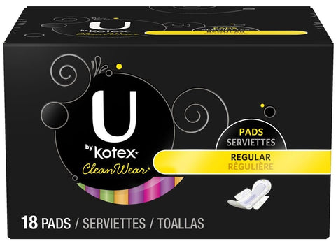 U by Kotex Clean Wear Pads, Ultra Thin, Regular, 18 pads