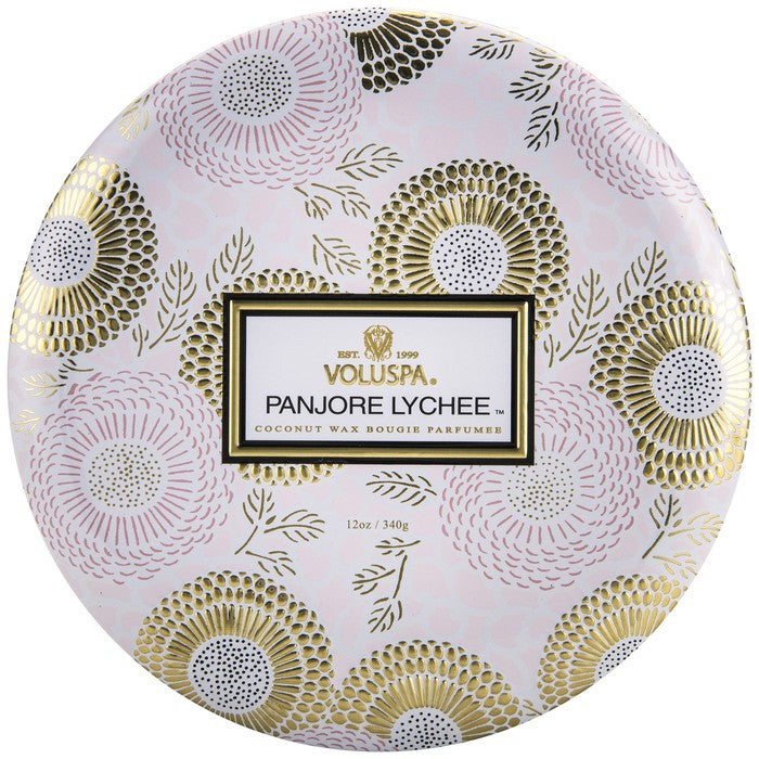 VOLUSPA - Panjore Lychee 3 Wick Candle In Decorative Tin