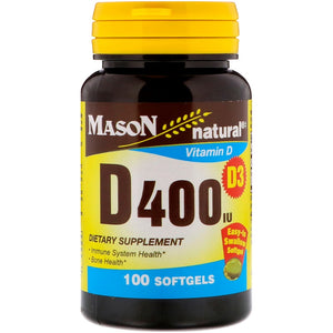 Mason Natural, D400 IU, 100 Softgels