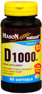 Mason Natural Vitamin D1000 IU Softgels 60 Soft Gels