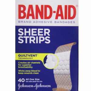 BAND-AID Sheer Strips Adhesive Bandages, All One Size 40 ea (1 Pack)
