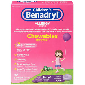 Benadryl Children's Allergy Chewable Tablets, Grape Flavored 20 ea