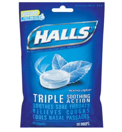 Halls Mentho-Lyptus Triple Action Drops 30 Each