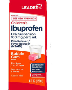 Leader Children's Ibuprofen Liquid Bubble Gum 4oz