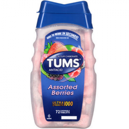 TUMS Ultra 1000 Tablets Assorted Berries 72 Tablets (1 Pack)