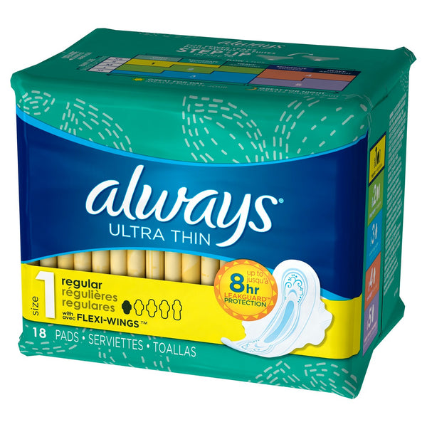 Always Ultra Thin Size 1 Regular Pads With Wings -18 Unscented Pads