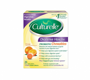 Culturelle Digestive Health Probiotic Chewable Tablets, Orange 24 ea (1 Pack)