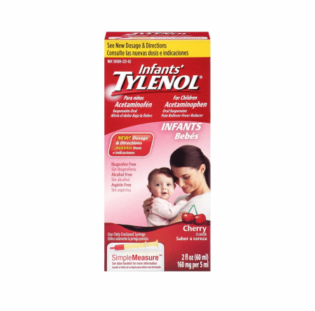 TYLENOL Infants' Acetaminophen Oral Suspension, Cherry Flavor 2 oz (1 Pack)