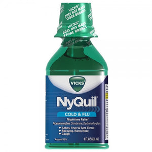 Vicks Nyquil Cold & Flu Nighttime Relief Liquid, Original Flavor 8 oz