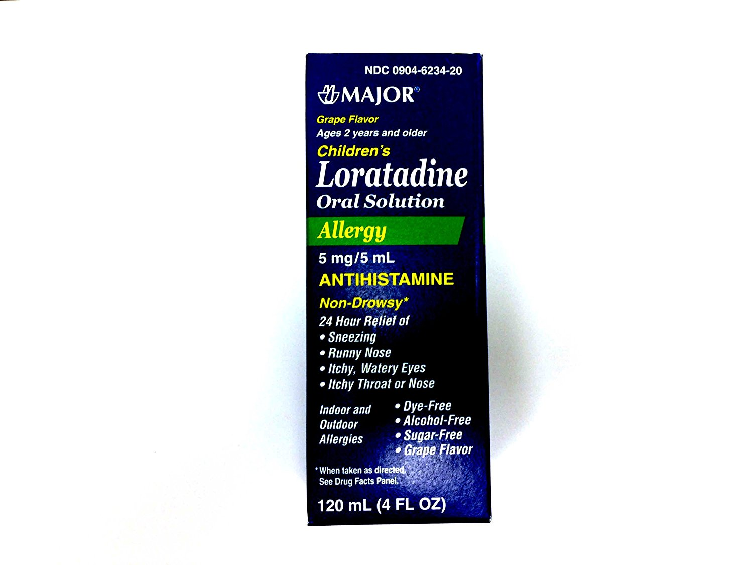 MAJOR LORATADINE Chilrden Allergy 24 Hour Relief Antihistamin 5mg/5ml Grape Flavor,