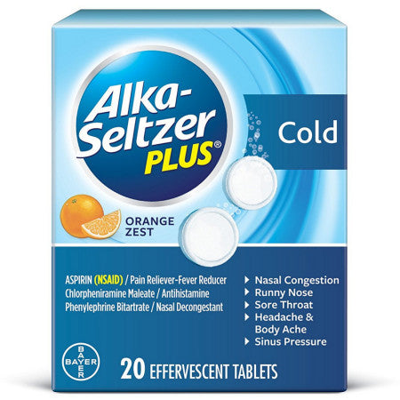 Alka-Seltzer Plus Cold Medicine, Effervescent Tablets With Pain Reliever/Fever Reducer, Orange Zest 20 ea