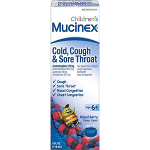 Mucinex Children's Cold, Cough and Sore Throat Liquid Medicine, Mixed Berry, 4 oz