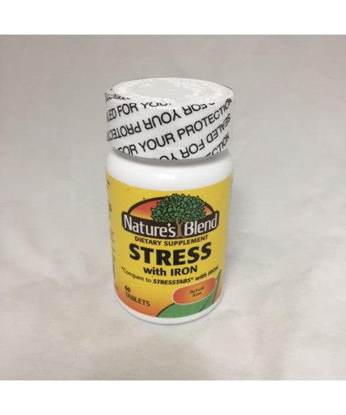 Nature's Blend Stress Formula With Iron Tablets, 60ct,
