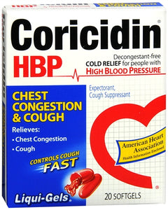 Coricidin HBP Chest Congestion & Cough Liqui-Gels 20 Liqui-Gels