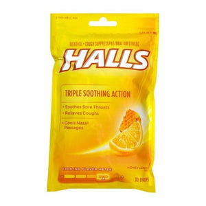 Halls Triple Soothing Action Cough Drops, Honey Lemon 30 Each