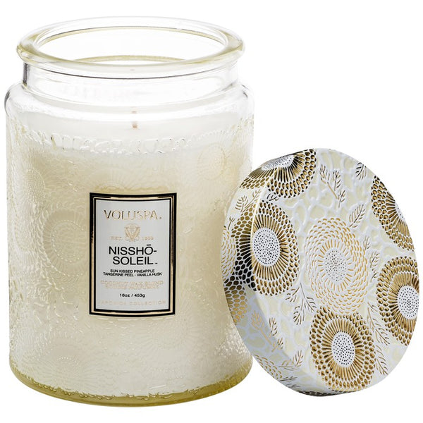 VOLUSPA - Nissho Soleil Large  Embossed Glass Jar Candle