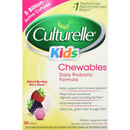 Culturelle Kids Chewables Probiotic Tablets, Bursting Berry Flavor 30 ea