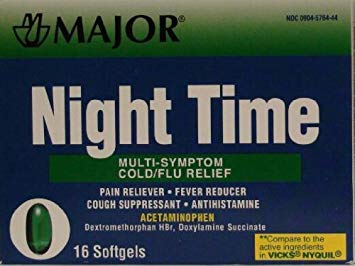 Major Cold and Flu Multi-Symptom Relief Rapid Release 16 Gelcaps Night Time
