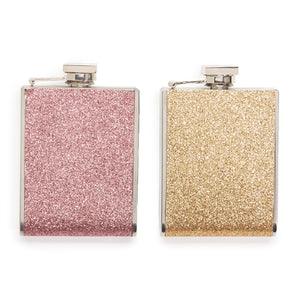 GLITTER FLASK IN GIFT BOX/ GOLD AND ROSE GOLD