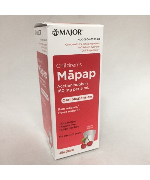 Major Children's Mapap Oral Suspension, Cherry, 4oz,