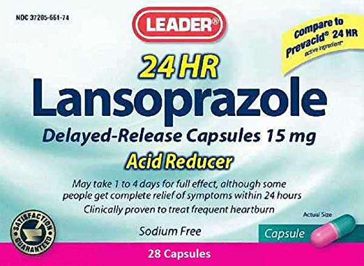 Leader 24 HR Lansoprazole Acid Reducer 15mg Capsules