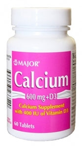 Calcium Carbonate 600mg with Vitamin D 400IU - 60 Tablets