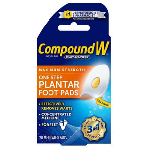 Compound W Maximum Stregth One Step Plantar Foot Pads 20 ea