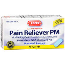 Leader Pain Reliever PM Caplets, 50 ct