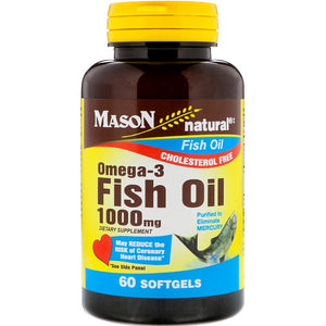 Mason Natural, Omega - 3 Fish Oil, 1000 mg, 60 Softgels