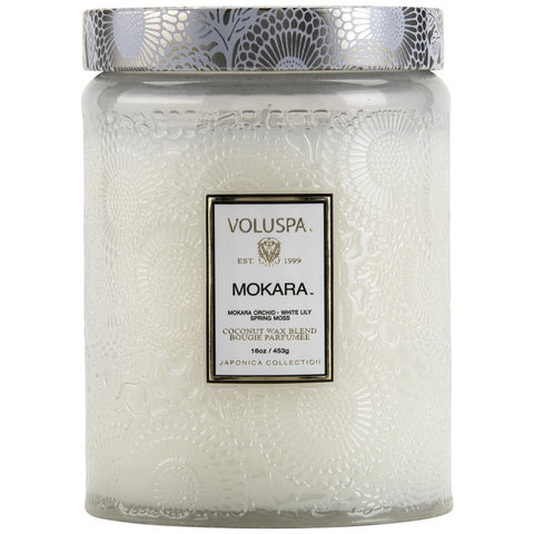 VOLUSPA - Mokara Large Embossed Glas Jar Candle