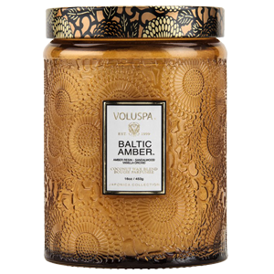 VOLUSPA - Baltic Amber Large Embossed Glass Jar Candle