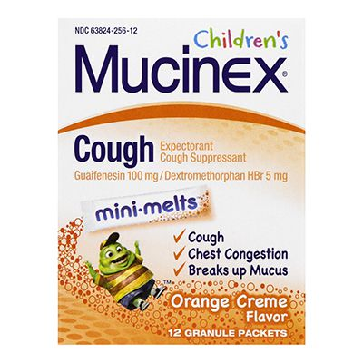Mucinex Cough Mini Melts Expectorant And Cough Suppressant For Kids - 12 Granule Packets, 2 Pack