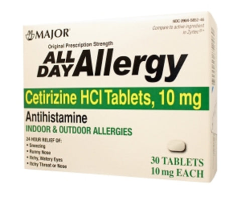 Major All Day Allergy 24Hr Tab Cetirizine Hcl-10 Mg 30 Tablets