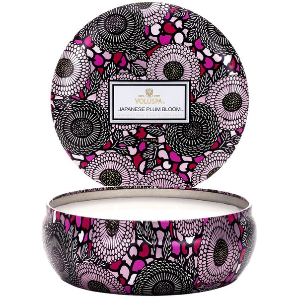 VOLUSPA - Japanese Plum Bloom 3 Wick Candle In Decorative Tin