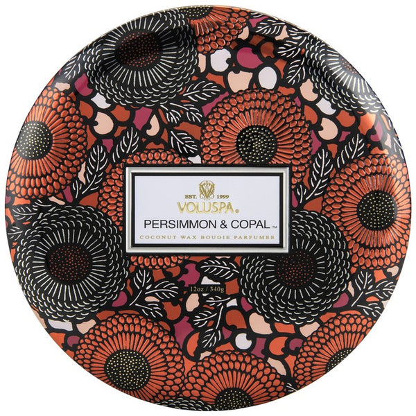 VOLUSPA - Persimmon & Copal 3 Wick Candle In Decorative Tin