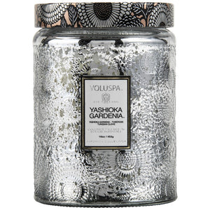 VOLUSPA - Yashioka Gardenia Large Embossed Glass Jar Candle