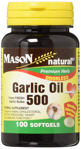 MASON NATURAL GARLIC OIL 500MG, ODORLESS, 100CT